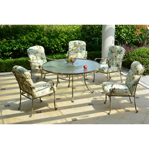 Mainstays Willow Springs 6-Piece Patio Dining Set with Lazy Susan, Cream, Seats 5