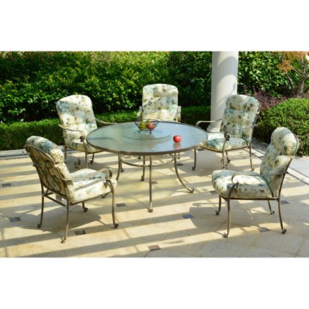 Mainstays Willow Springs 6-Piece Patio Dining Set with Lazy Susan ...