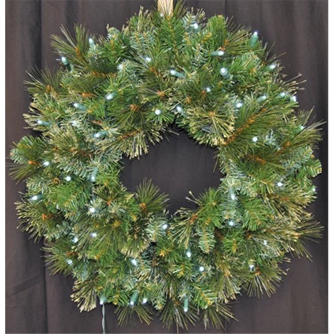 Queens of Christmas WL-GWBM-02-LPW 2 ft.  Pre-Lit Led Pure White Blended Pine Wreath
