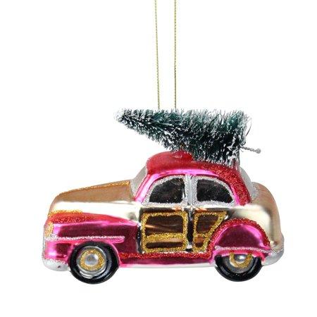 Car Christmas Ornaments.4 75 Festive Glittered Car With Christmas Tree On Top Glass Christmas Ornament Walmart Canada
