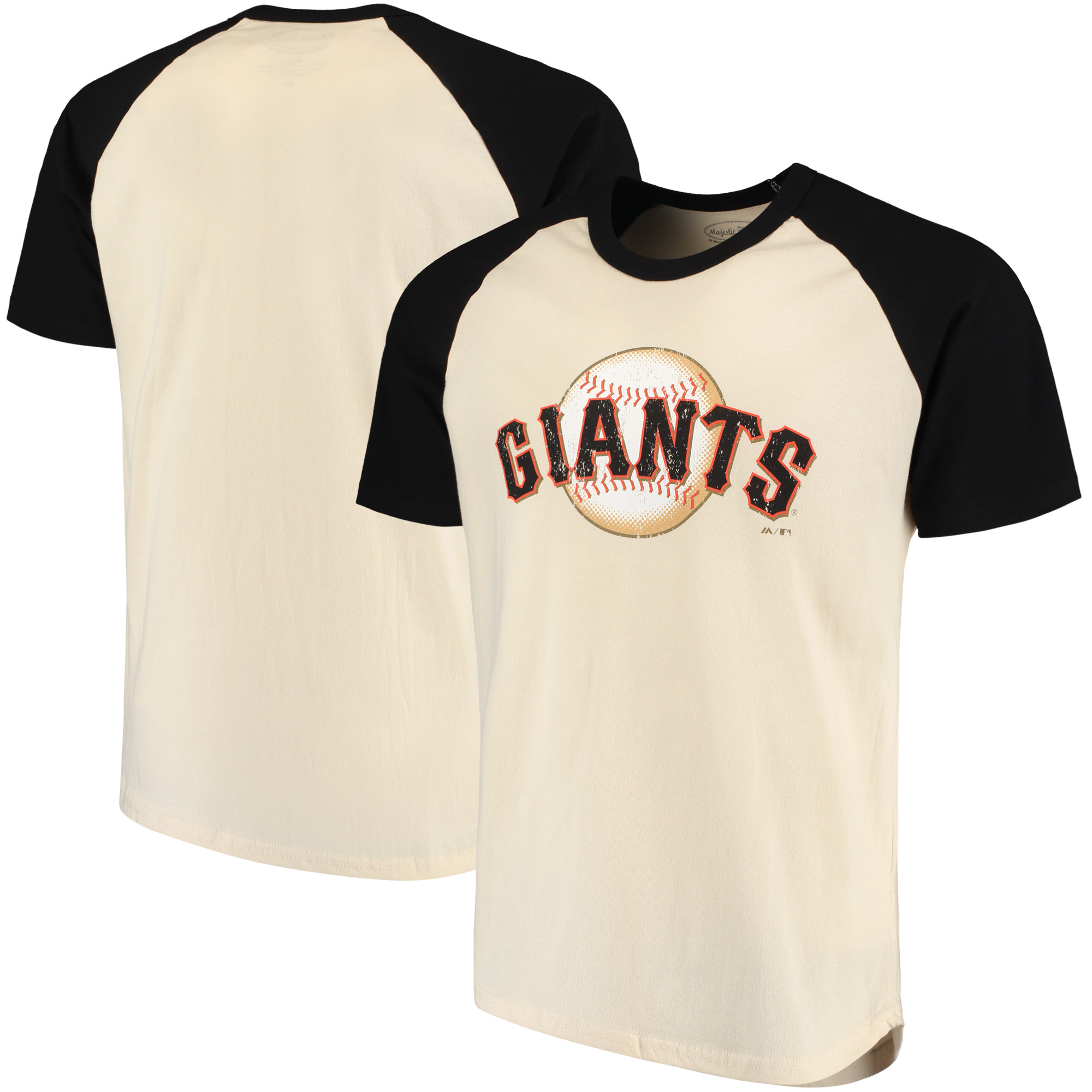 San Francisco Giants Majestic Threads Softhand Raglan T-Shirt - Cream/Black