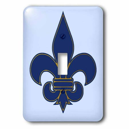 3dRose Large Navy Blue and Gold Fleur de lis Christian Saints Symbol - Single Toggle Switch (lsp_22361_1)