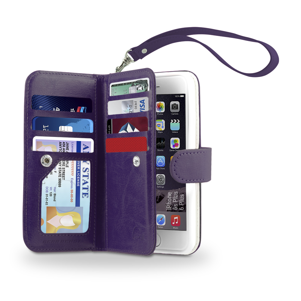 Gear Beast iPhone 6 Plus/6s Plus Wallet Case, Flip Cover Dual Folio Case Slim Protective PU Leather Case 7 Slot Card Holder Including ID Holder 2 Inner Pockets Stand Feature Wristlet For Men and Women