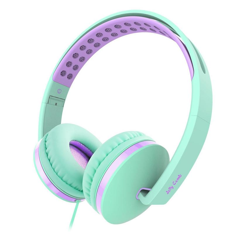 On Ear Headphones with Mic,Jelly Comb Foldable Corded Headphones Wired Headsets with Microphone, Volume Control for Cell Phone, Tablet, PC, Laptop, MP3/4, Video Game (Green & Purple)