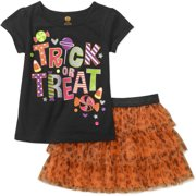 Baby Toddler Girls' Short Sleeve Graphic Tee and Tutu 2-Piece Outfit Set