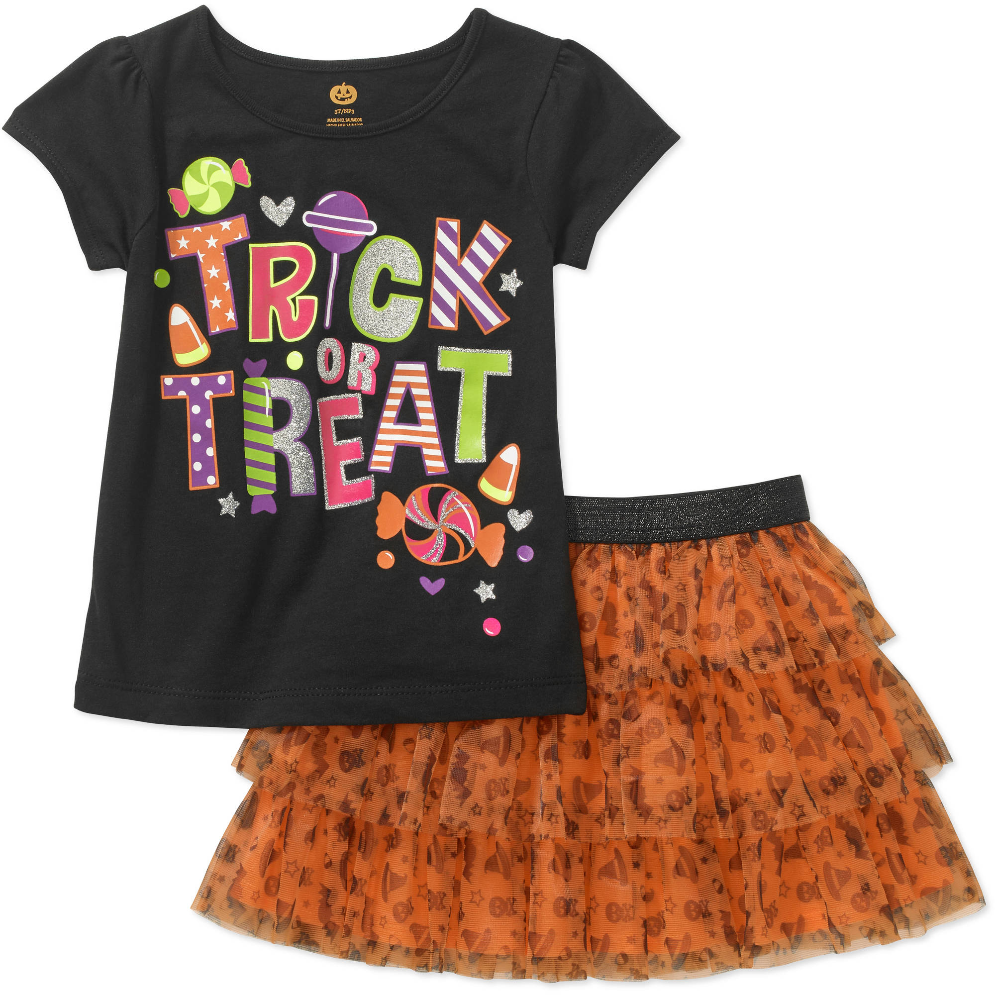 Baby Toddler Girls' Halloween Short Sleeve Graphic Tee and Tutu 2-Piece Outfit Set
