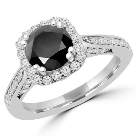 Majesty Diamonds MD170294-3 2.25 CTW Round Black Diamond Halo Engagement Ring in 18k White Gold - Size 3 - image 1 de 1