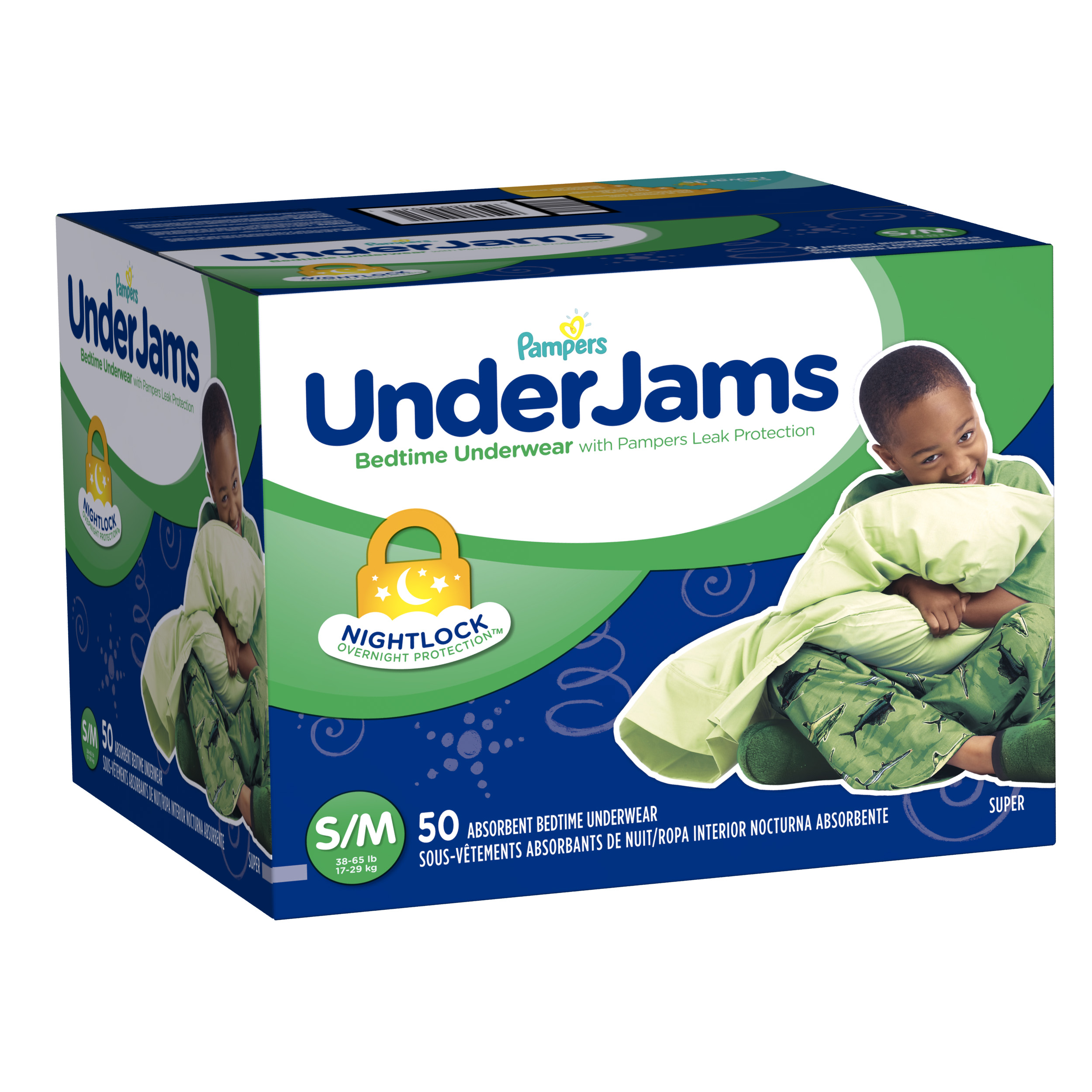 Pampers UnderJams Bedtime Underwear Boys Size S/M 50 count