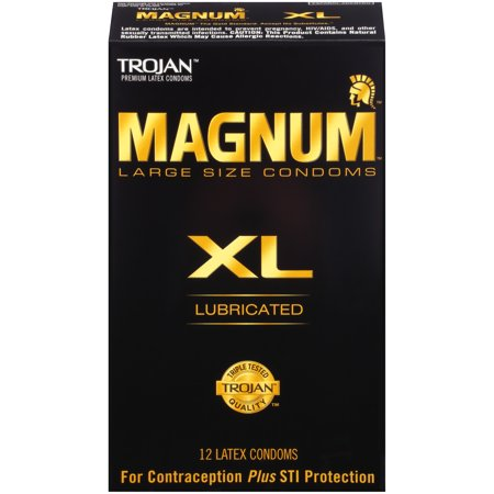 Trojan Magnum XL (Extra Large) Lubricated Condoms, 12