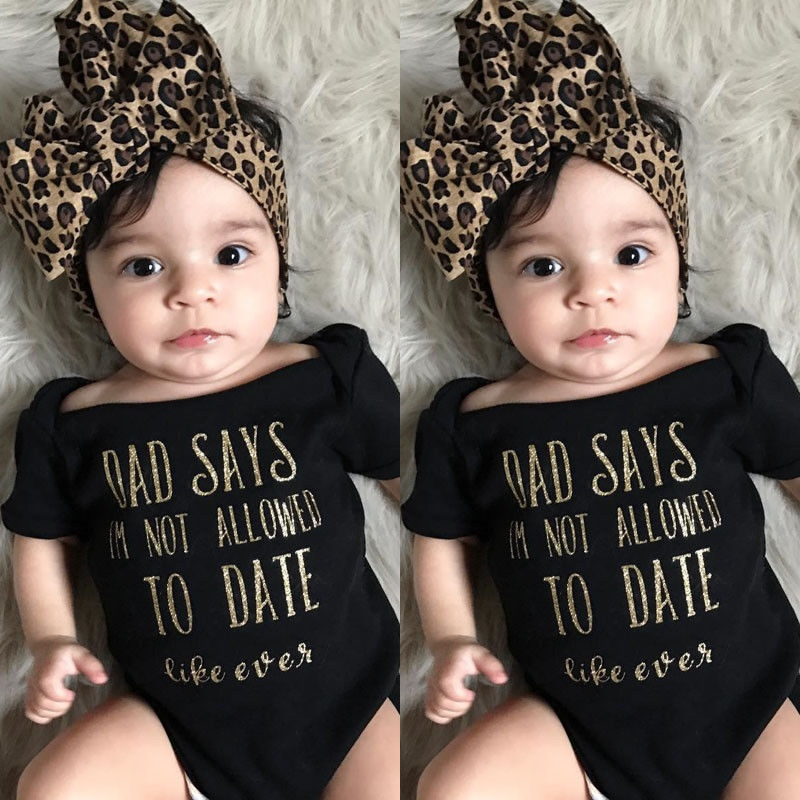 Newborn Baby Girls Romper Bodysuit Jumpsuit Leopard Headband Outfits Clothes Set