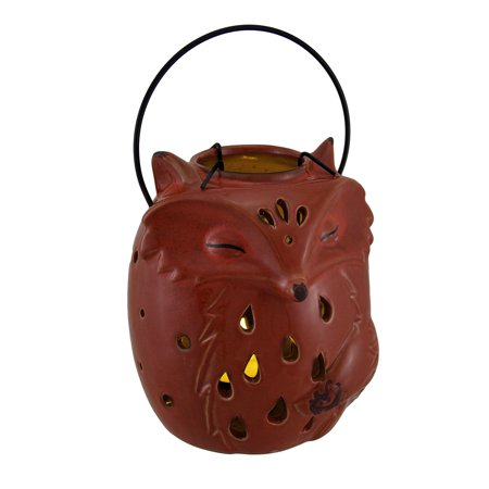 Burnt Orange Porcelain Fox Tealight Candle Lantern