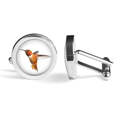Rufous Hummingbird Cufflinks Bird Cuff Links (Angled Edition)