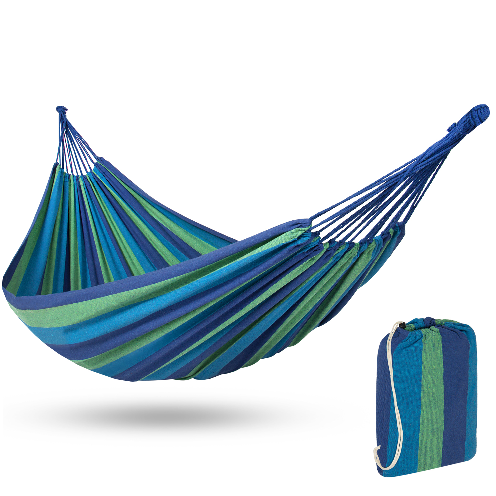 Best Choice Products Cotton Brazilian 2-Person Double Hammock Bed w/ Carrying Bag - Blue