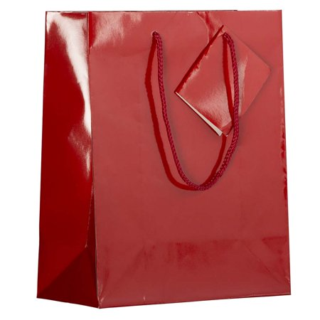 Red Gift Bags (JAM Paper Glossy Gift Bags with Rope Handle, Medium, 8