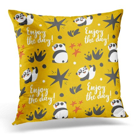 CMFUN Colorful Bee Cute Animal Panda with Enjoy The Day Star Heart Fun Yellow Berry Throw Pillow Case Pillow Cover Sofa Home Decor 16x16 Inches](Yellow Star)