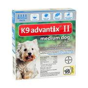 K-9 Advantix II Flea and Tick Treatment for Medium Dogs, 4 Doses