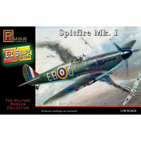 Scale Snap Together Plastic Model (Pegasus 8410 WWII British Spitfire Mk.I 1/48 Scale Snap-Together Model Kit)