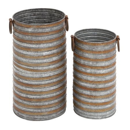 Decmode Farmhouse 20 and 16 Inch Galvanized Gray Cylindrical Metal Planters - Set of 2
