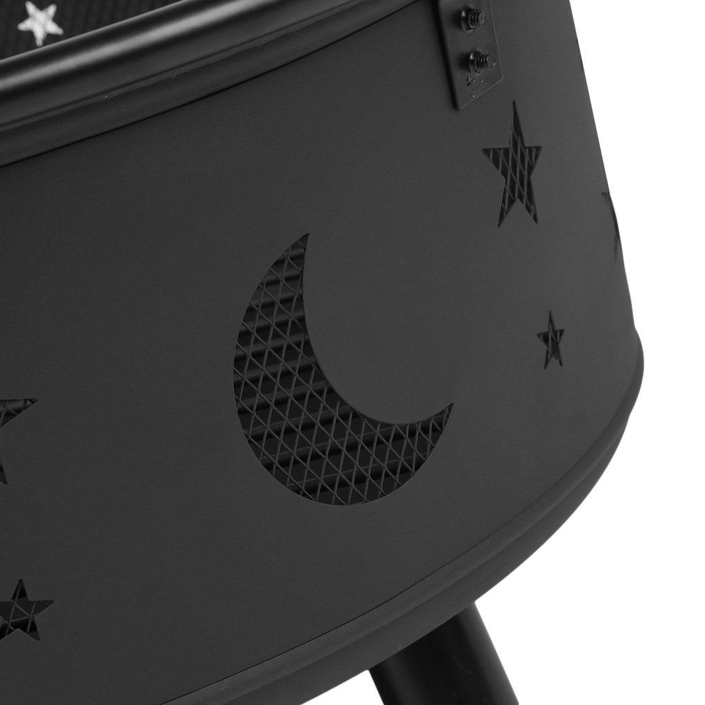 Outdoor Wood Burning Heater Steel Bowl Firepit Firepit BBQ Stove Star&Moon by TRY