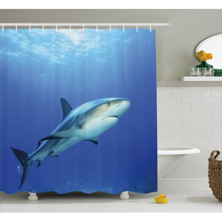Shark Shower Curtain, Fish in the Exotic Ocean Dreamy Water with Surreal Color Underwater World