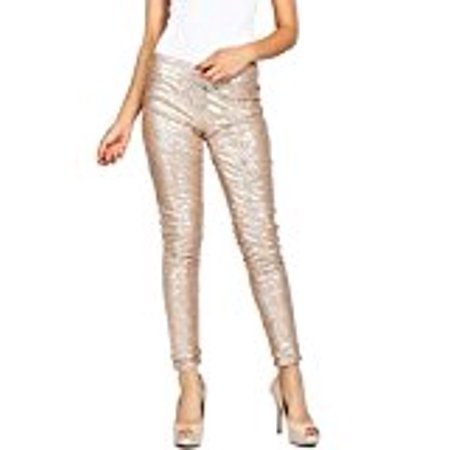 Women's Embellished All Over Sequin Sparkle Dance Leggings Gold S - Gold Sparkle Leggings