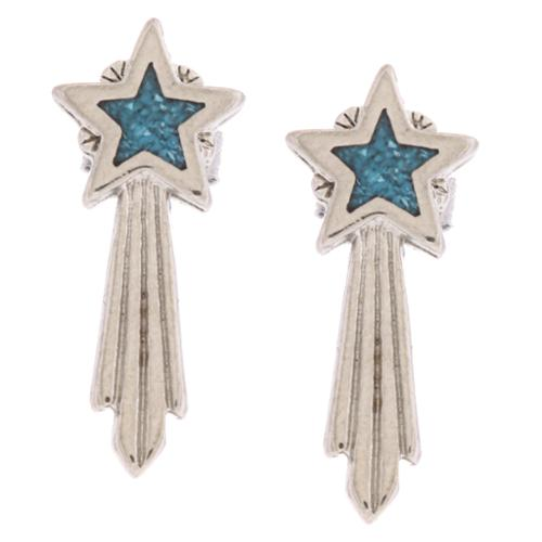 Southwest Moon Shooting Star Turquoise Inlay Post Earrings