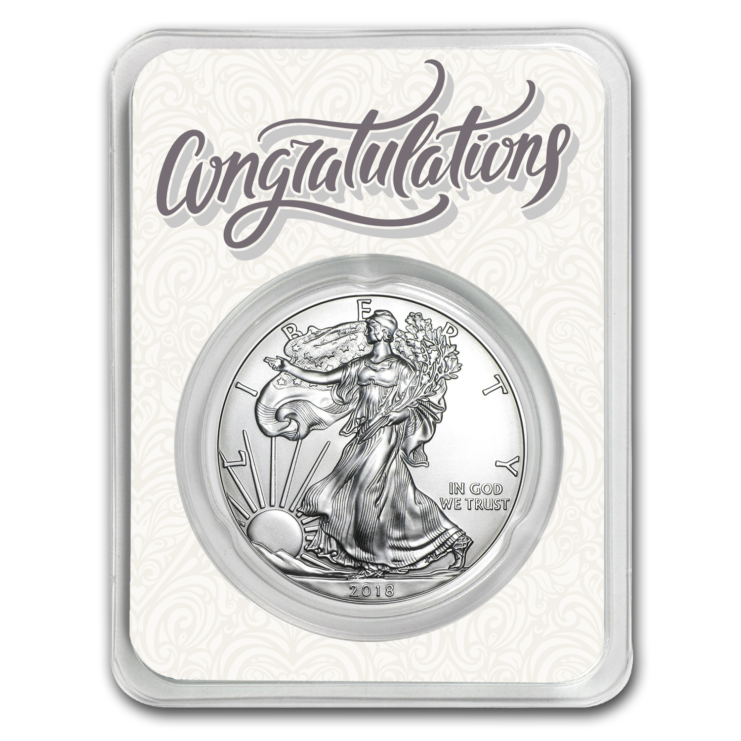 2018 1 oz Silver American Eagle - Just Married Congratulations