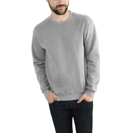 Button Crewneck Sweater (Fruit of the Loom Men's Dual Defense EverSoft Crew Sweatshirt)