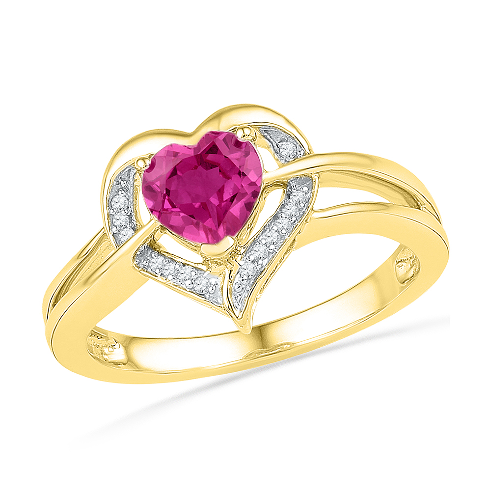 Size 7 Solid 10k Yellow Gold Heart Round Pink Simulated Sapphire And White Diamond Engagement Ring OR Fashion Band Prong... by AA Jewels