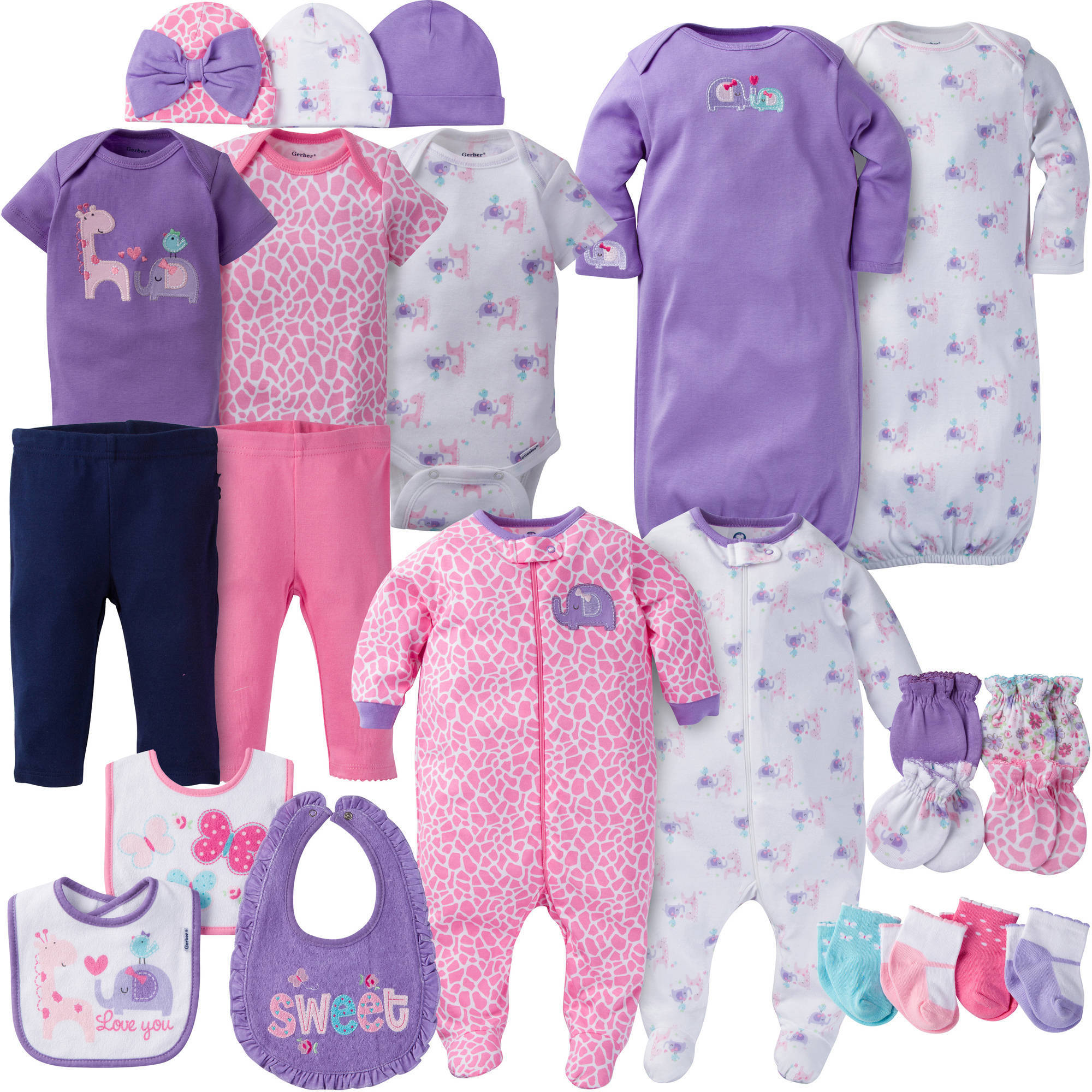 Gerber Newborn Baby Girl Perfect Baby Shower Gift Layette Set, 23-Piece