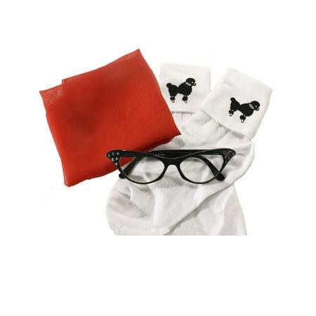 Sheer Chiffon Scarf, Cat Eye Glasses & Poodle Socks - 50s Accessory - Cut Scarf