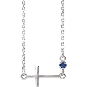 """Jewels By Lux 14k White Gold Blue Sapphire Sideways Accented Cross 16-18"""" Necklace"""