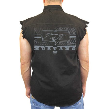 - Men's Sleeveless Denim Shirt Ford Mustang Honeycomb Grille Biker