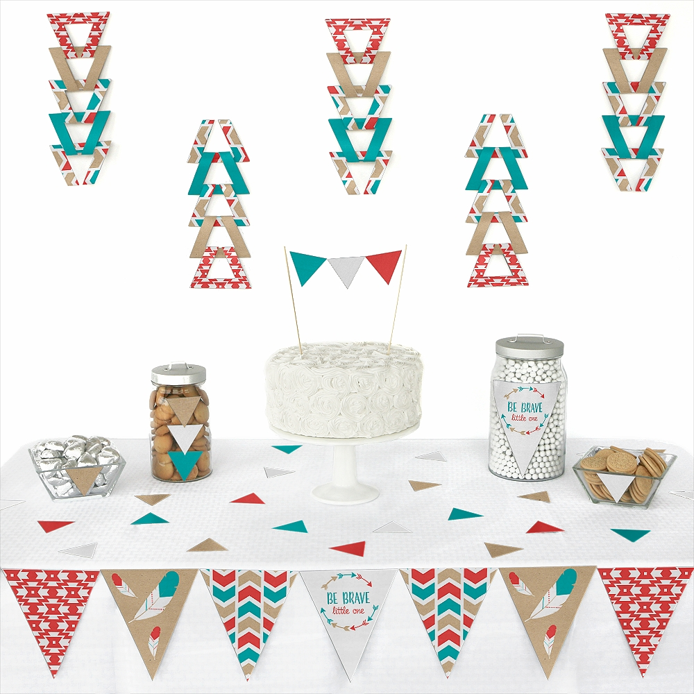 Be Brave Little One - Triangle Boho Tribal Baby Shower or Birthday Party Decoration Kit - 72 Pieces