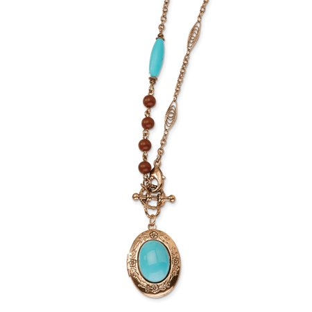 Decorative Toggle Fancy Lobster Closure Copper-tone Aqua and Brown Beads 16inch Locket Necklace