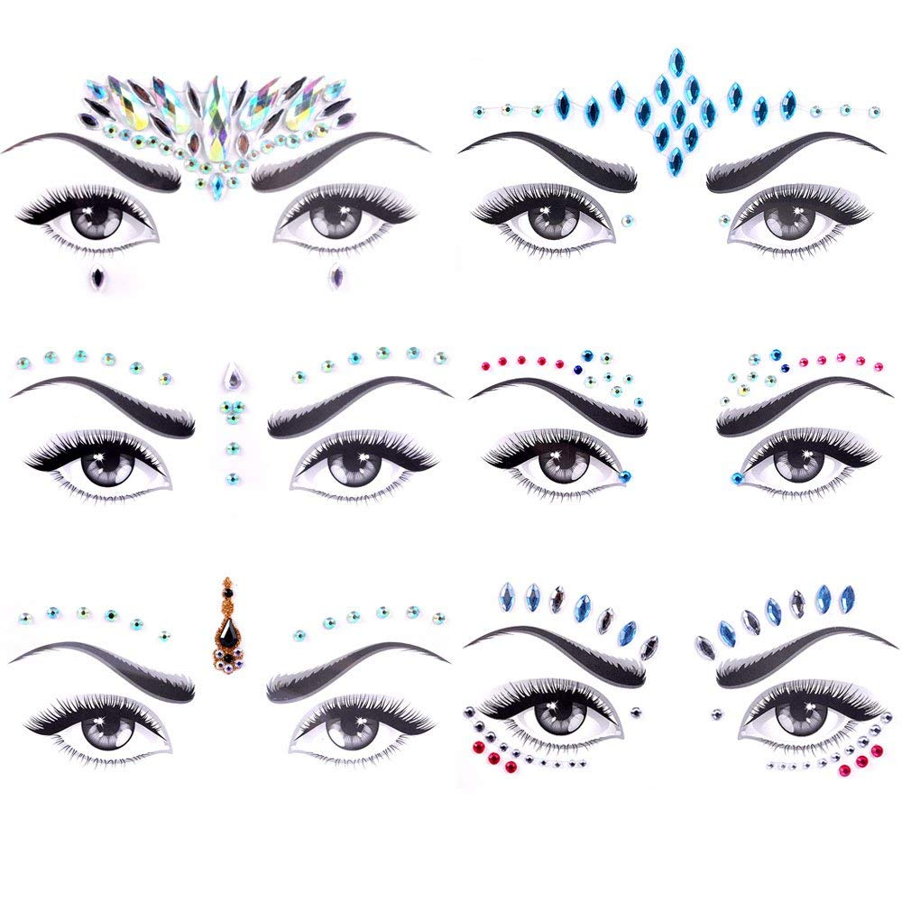 Face Gems 6 PCS Face Jewels Tattoo Set Mermaid Gem Rhinestones Eyes Body Stickers Bindi Crystals Glitter for Rave Party Festival by Lady Up