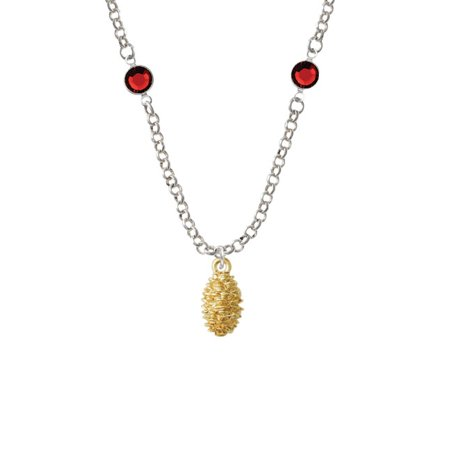 Gold Tone Pine Cone Red Crystal Fiona Necklace