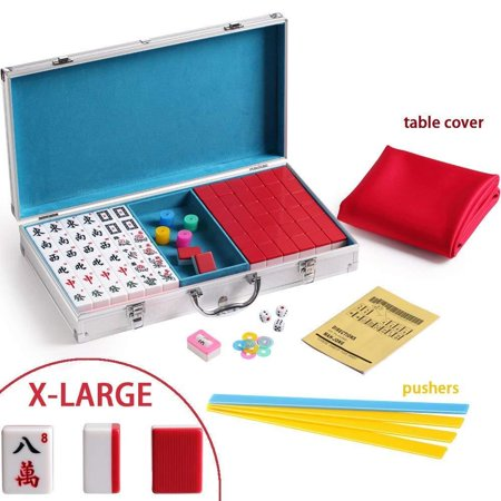 144 Red Tiles Chinese Mahjong Silver Aluminum Case with Pushers and Cover (Red Roof Tile)