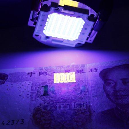 BAGGUCOR 100W UV 395-400Nm Violet LED Light Purple Ultraviolet Light Emitter Ultra Violet Bulb Lamp Beads ()