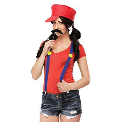 Luigi Costume Womens (Video Game Gal Mario Luigi Brothers Hat Moustache Suspenders Womens Costume)