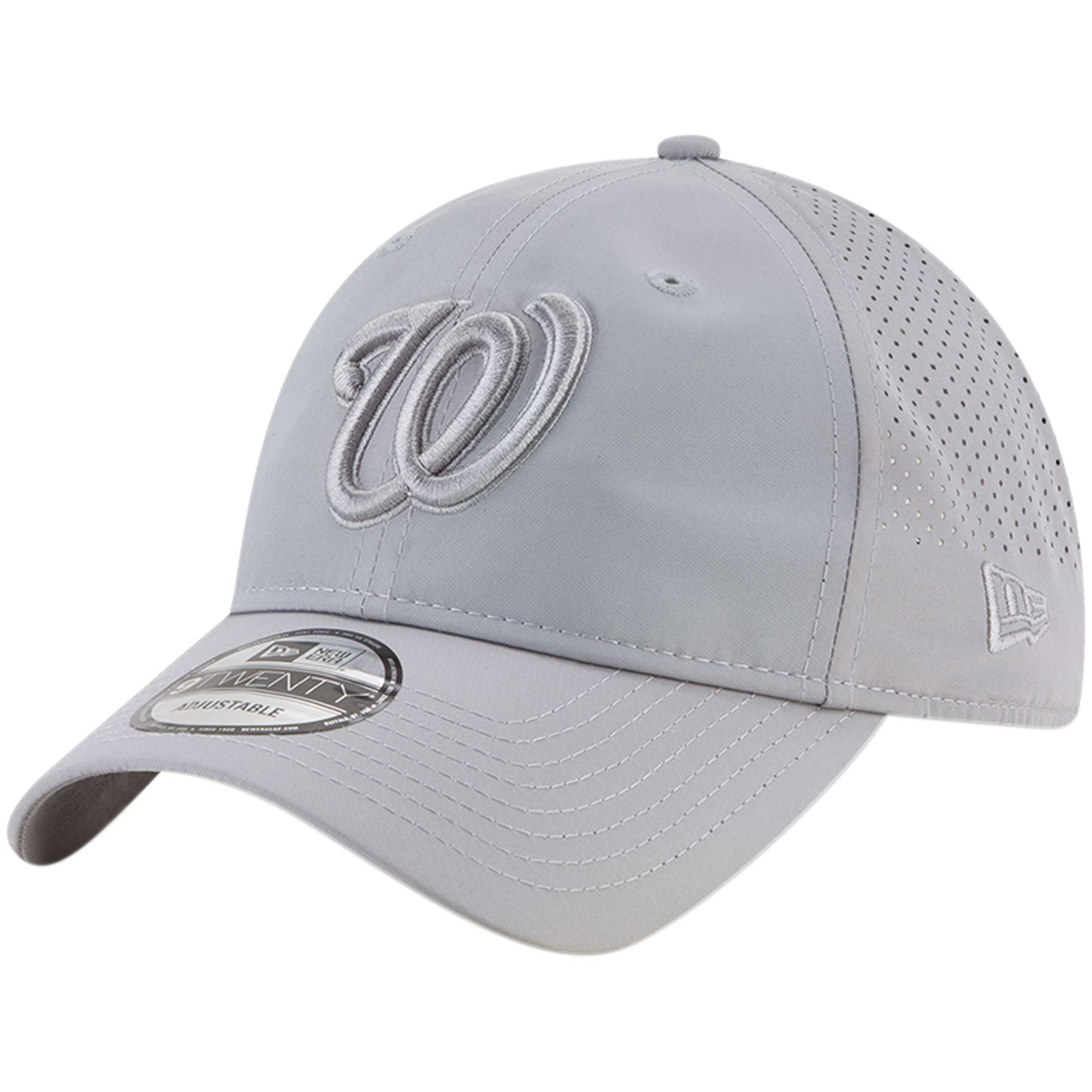 Washington Nationals New Era Perforated Tone 9TWENTY Adjustable Hat - Gray - OSFA