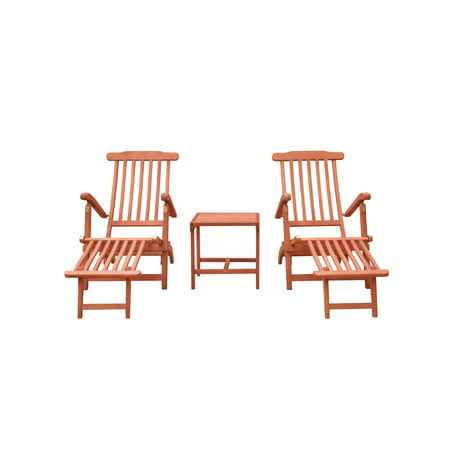 """3-Piece Brown Natural Wood Finish Outdoor Patio Furniture Chaise Lounge Set 54"""""""