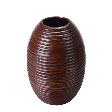"""Villacera Handmade 10"""" Tall 7"""" Round Mango Wood Brown Ripple Vase 