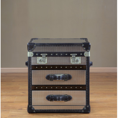 Lazzaro Hibernia Leather 2 Drawer Steamer End Table in Stainless & Brompton Chocolate