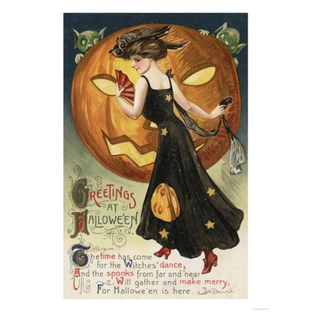 Halloween Greeting - Witch Dancing and Pumpkin Print By Lantern Press