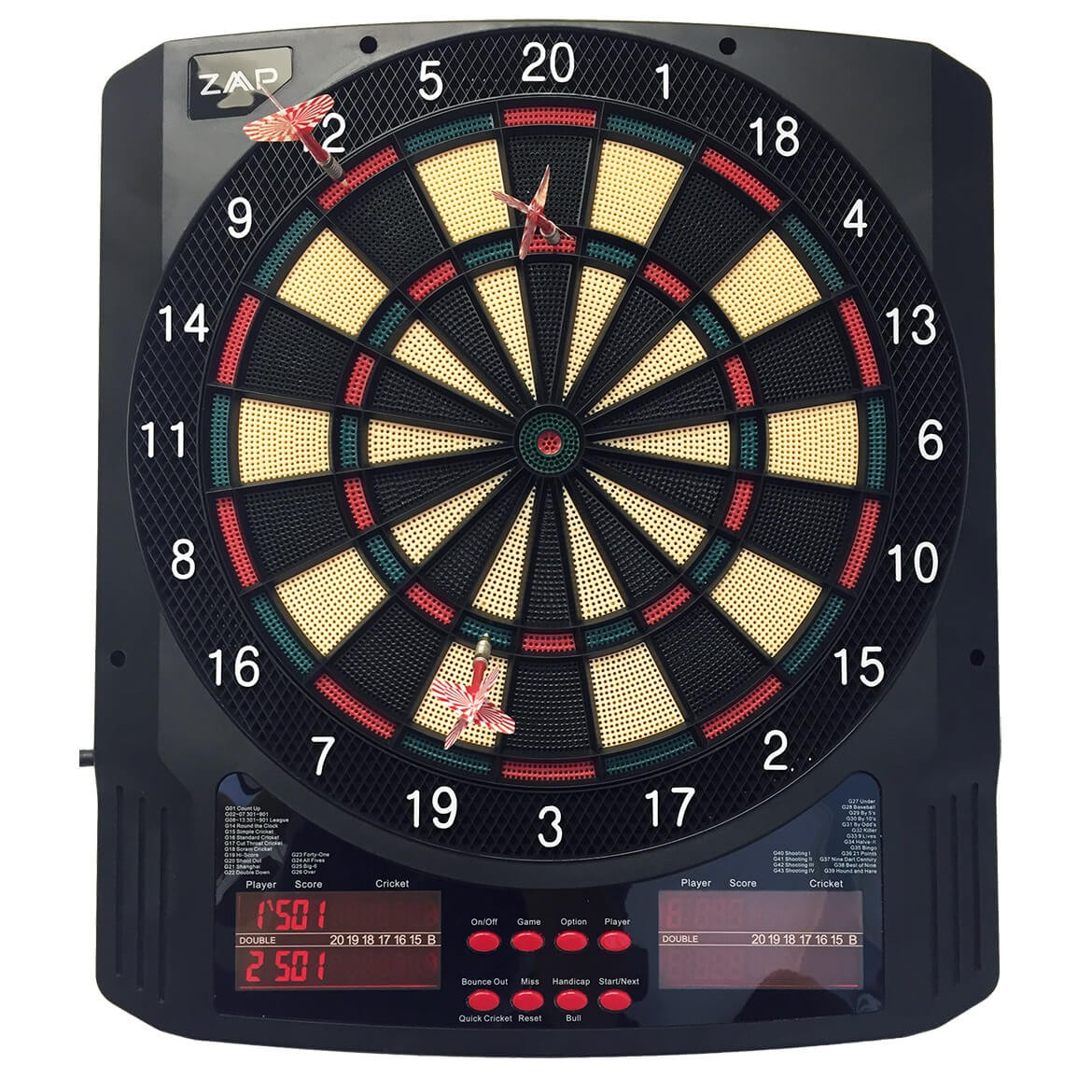 ZAAP Pro Electronic Soft Tip Dart Board with 43 Game and ...