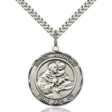 Solid 925 Sterling Silver St  Anthony Of Padua Medal 1 X 5 8 Lost Articles The Poor Pendant Necklace On A 24  Stainless Silver Curb Chain Gift Boxed