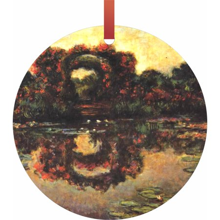 Artist Claude Monet's Flowering Arches  Flat Round - Shaped Christmas Holiday Hanging Tree Ornament Disc Made in the (Holiday Arch)