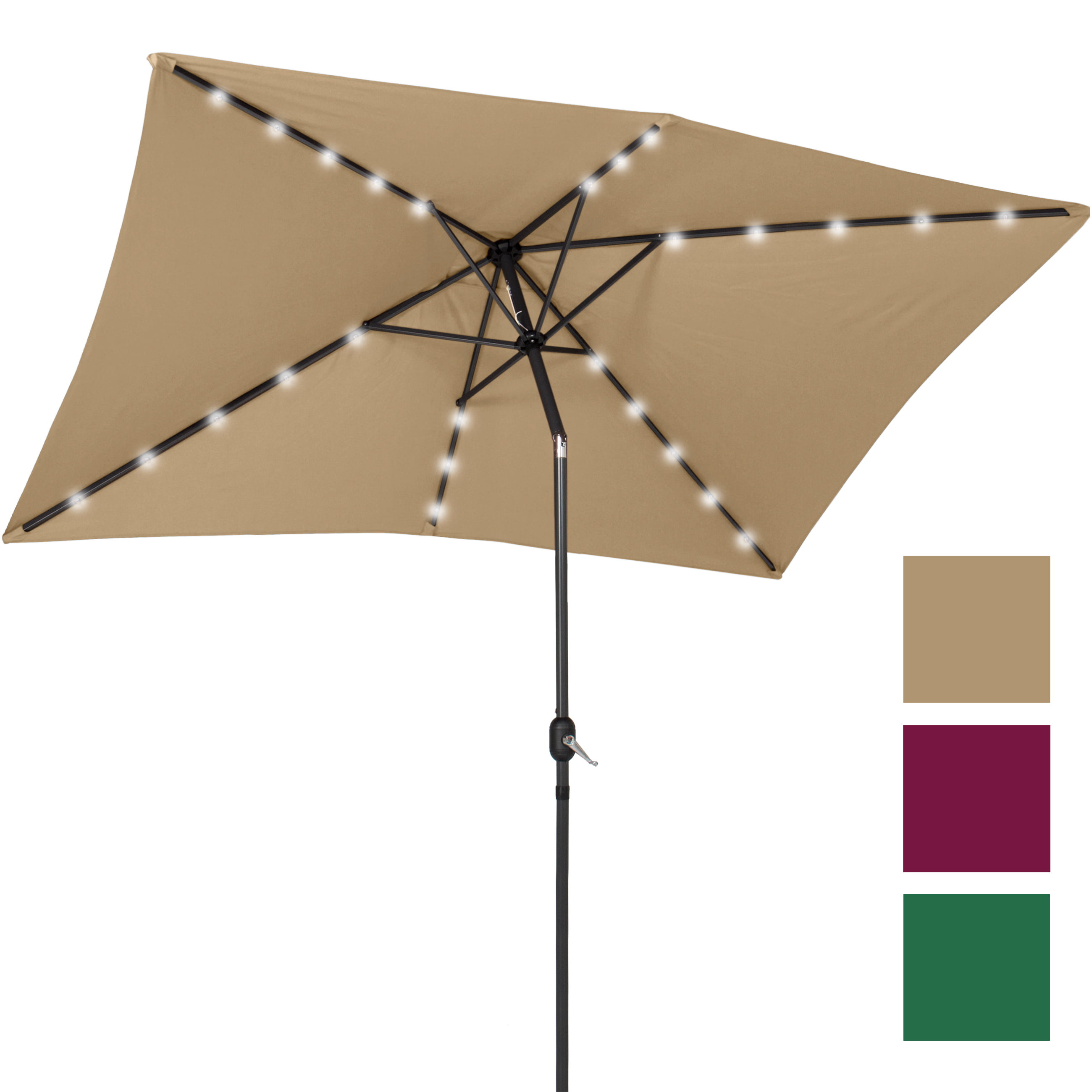 BCP 10' x 6.5' LED Solar Patio Umbrella With Tilt Adjustment Multicolor by