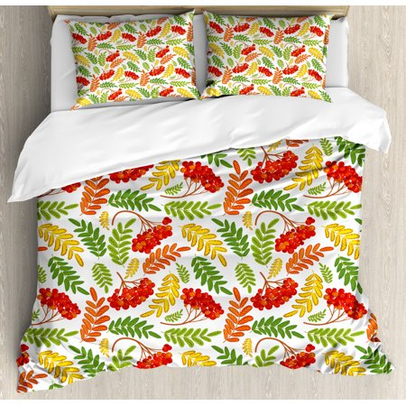 Rowan King Size Duvet Cover Set  Autumnal Flora Wild Rural Nature Pattern Botanical Theme With Vibrant Colorful Leaves  Decorative 3 Piece Bedding Set With 2 Pillow Shams  Multicolor  By Ambesonne